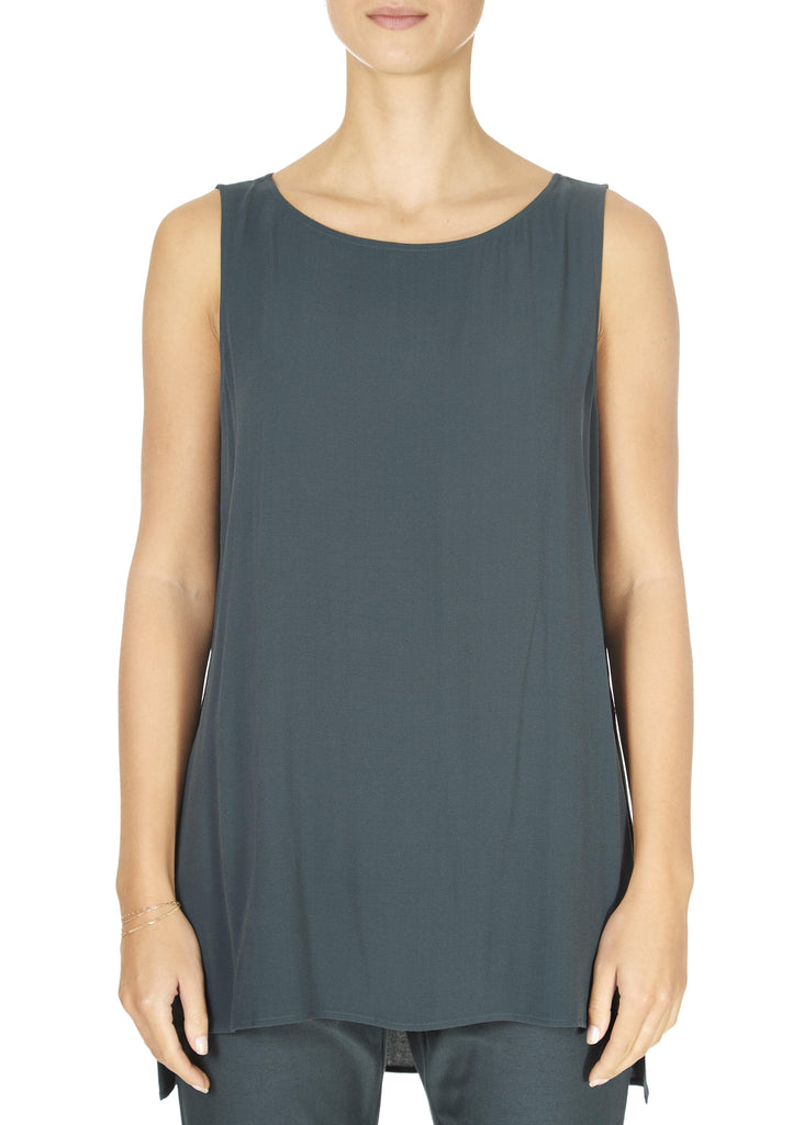 Forest Green High Neck Sleeveless Top