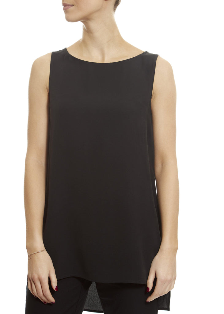 Bateau Round Neck 'Black' Long Eileen Fisher Shell Top | Jessimara London