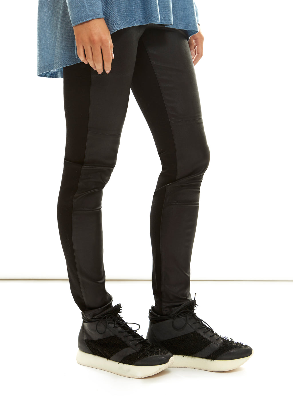 Black Leather Front Legging Eileen Fisher - Jessimara