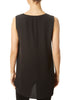 V-Neck Long Shell Black Top | Jessimara London