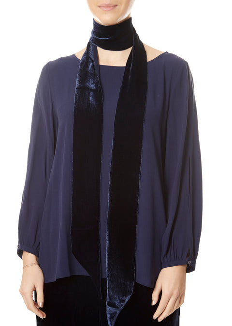 Skinny Midnight Blue Velvet Scarf | Jessimara London
