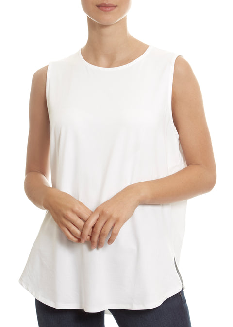 White Round Neck Rayon Shell Top Eileen Fisher - Jessimara
