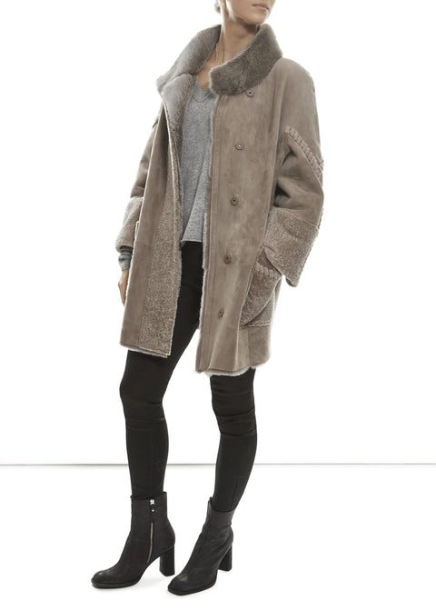 Taupe Suede Sheeskin with Mink Collar - Jessimara