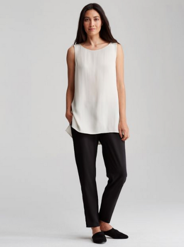 Eileen Fisher Black Silk Crepe Drawstring Pant