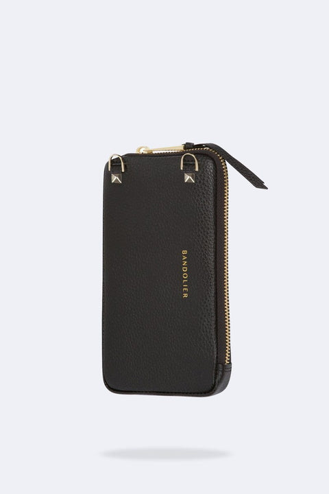 'Grace' Black/Gold Pebble Leather Zip Pouch