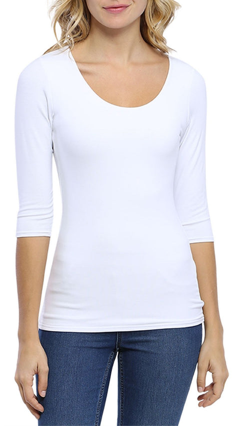 'Zaza' White Round Neck Top