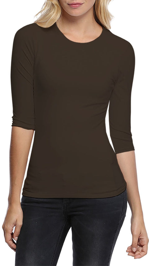 'Katia' Brown Crew Neck Tshirt