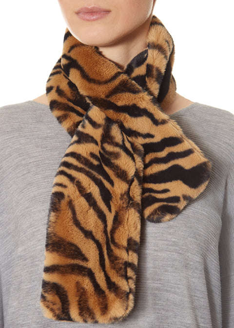 Chestnut Zebra Faux Fur Loop Scarf