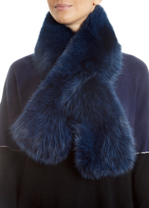 Blue Genuine Fox Fur Collar