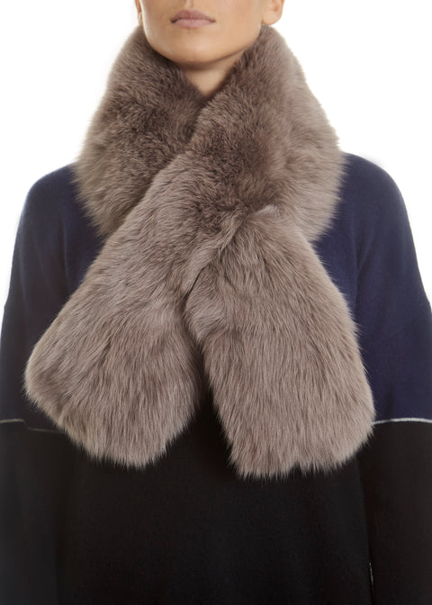 Grey Genuine Fox Fur Collar