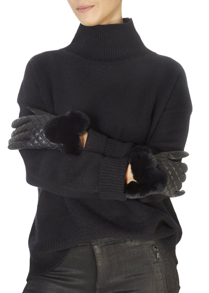 Black Quilted Leather Gloves With Black Fur Trim | Jessimara London