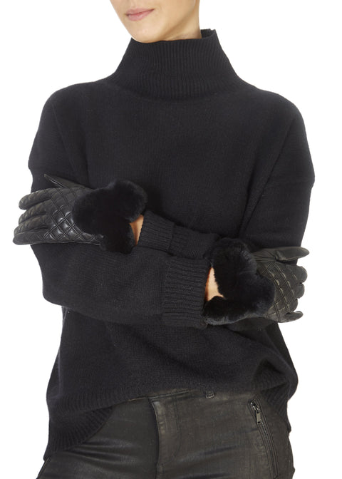Black Quilted Leather Gloves With Black Fur Trim