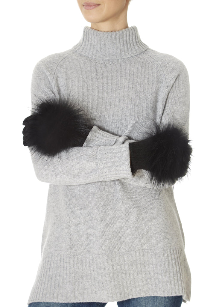 Black Fur Pom Gloves | Jessimara London