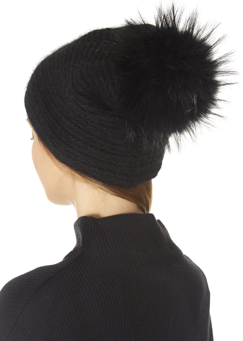 Black Knit Pom Beanie Hat | Jessimara London