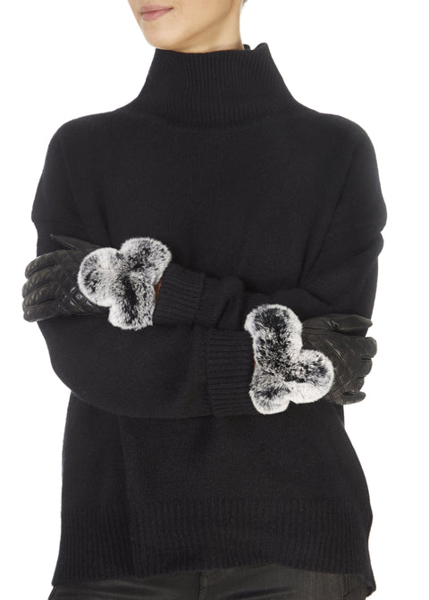 Black Quilted Leather Gloves With Black Snowtop Fur Trim