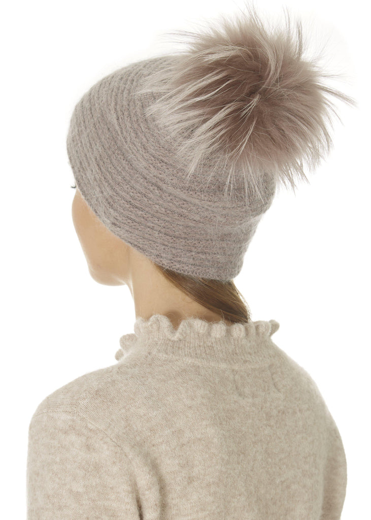 Blush Pink Knit Pom Beanie Hat | Jessimara London