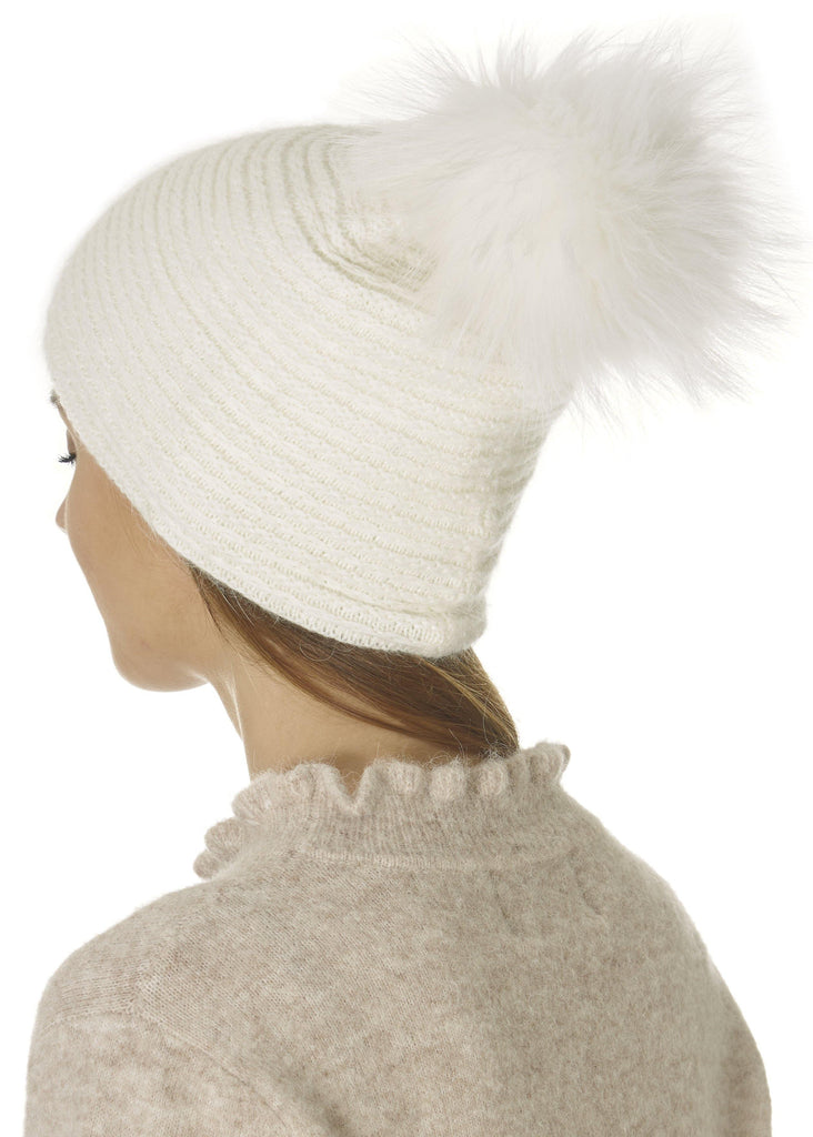 Cream Knit Pom Beanie Hat | Jessimara London