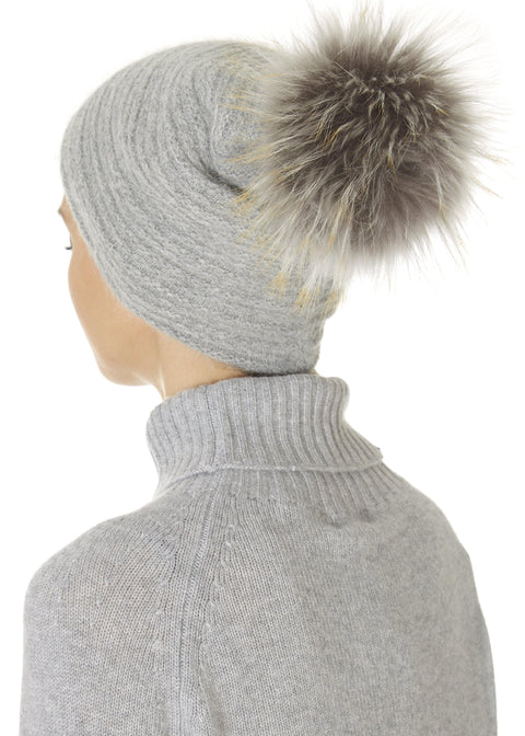 Grey Knit Pom Beanie Hat | Jessimara London