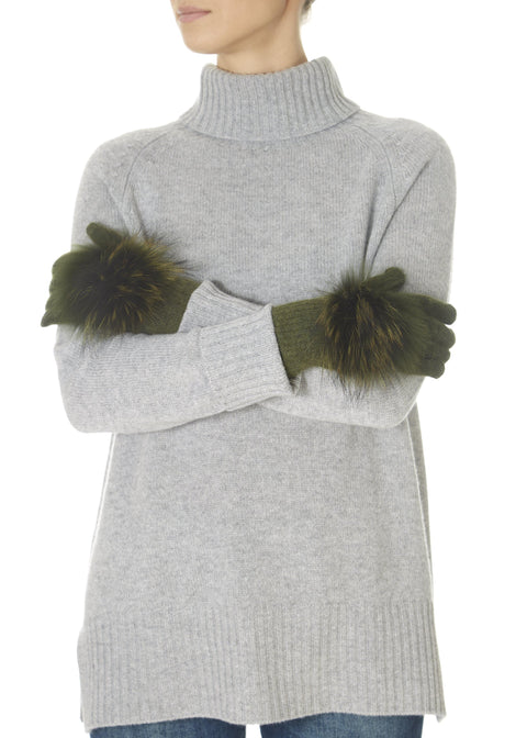 Khaki Green Fur Pom Gloves | Jessimara London