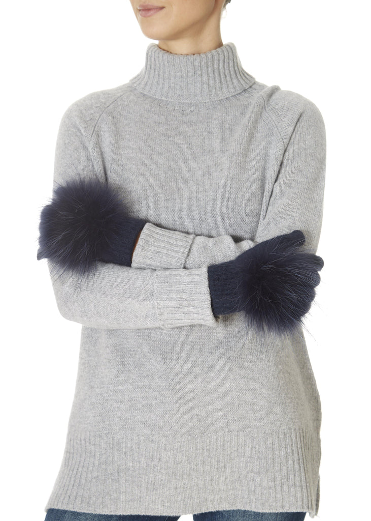 Navy Fur Pom Gloves | Jessimara London