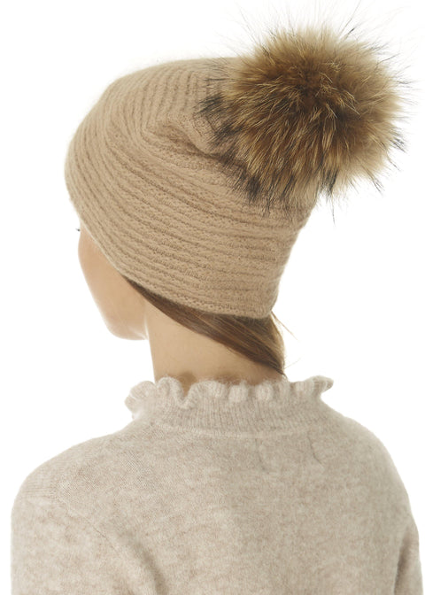 Tan Knit Pom Beanie Hat | Jessimara London