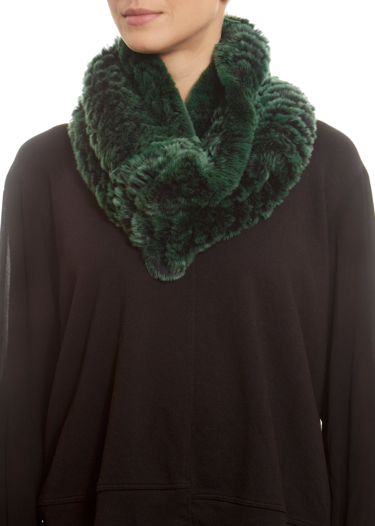 Green Snowtop Real Rex Rabbit Fur Snood