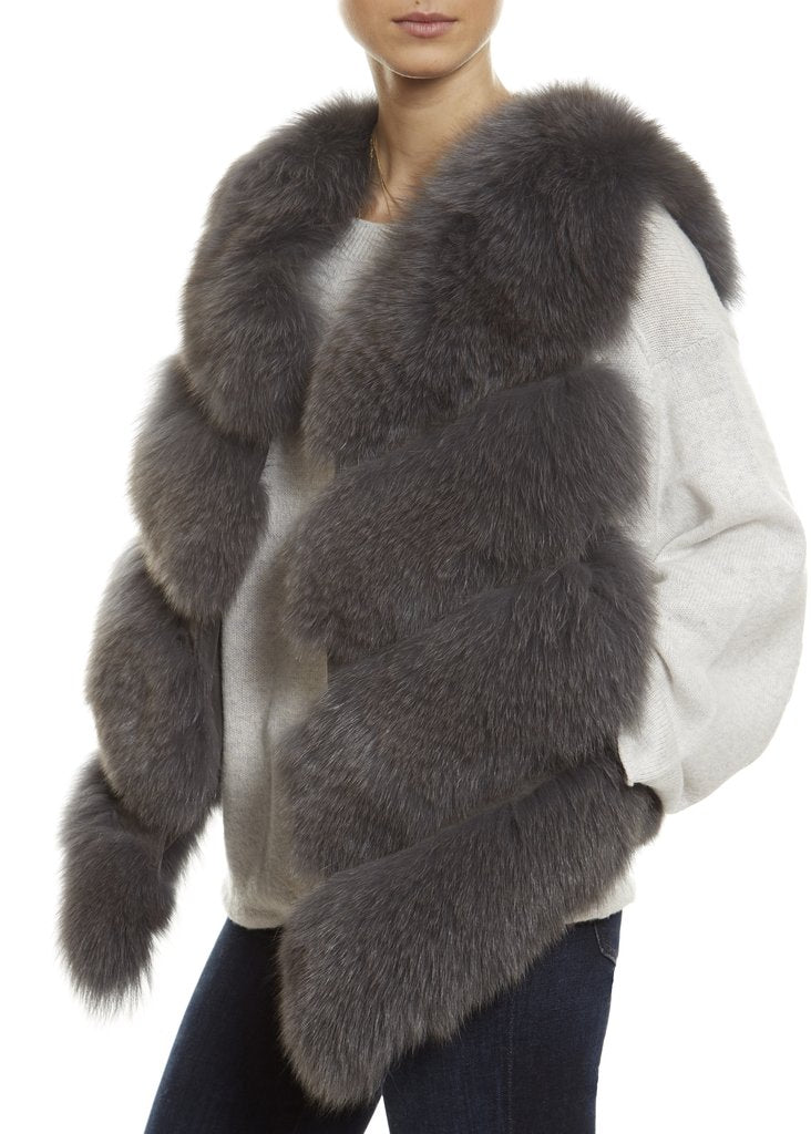 Grey Short Fox Fur Gilet London | Jessimara London