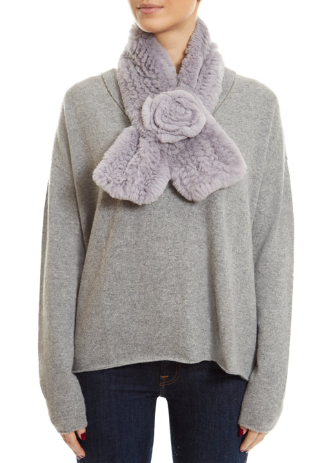 Silver Grey Real Rex Rabbit Fur Rose Scarf | Jessimara London