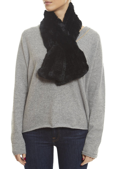 Black Knitted Rabbit 'Loop' Luxury Fur Scarf | Jessimara London