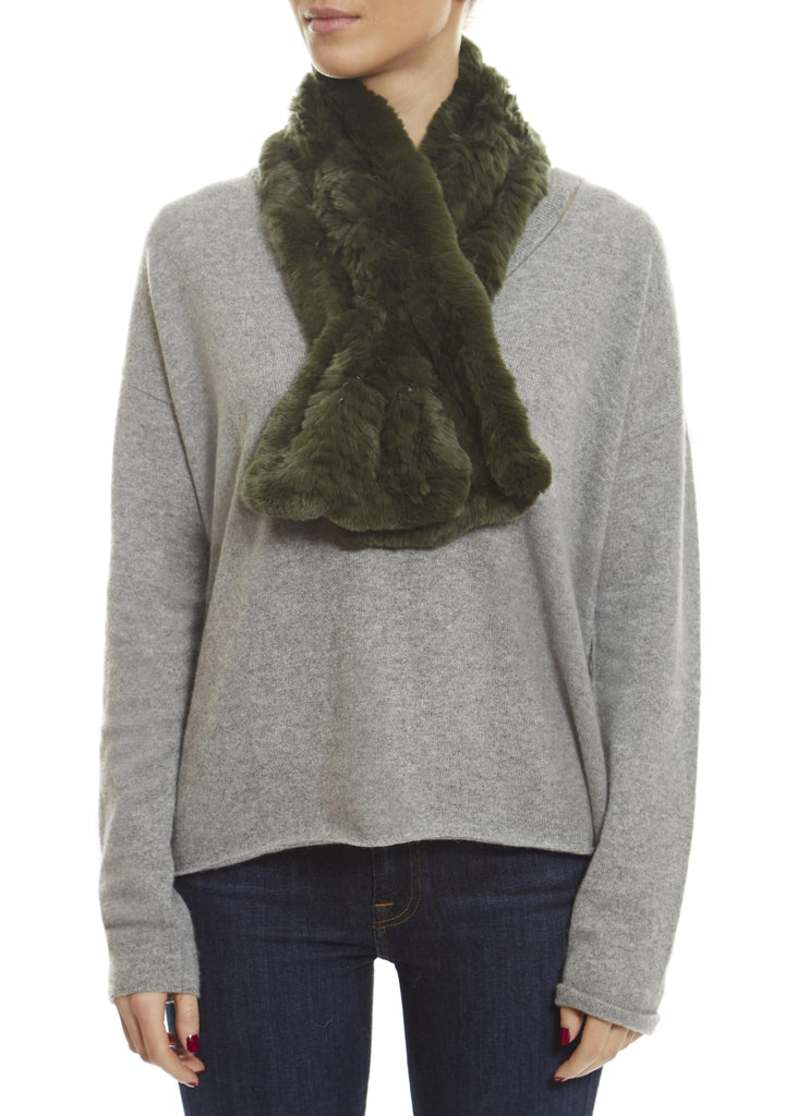 Knitted Rabbit Forest Green 'Loop' Luxury Fur Scarf | Jessimara London