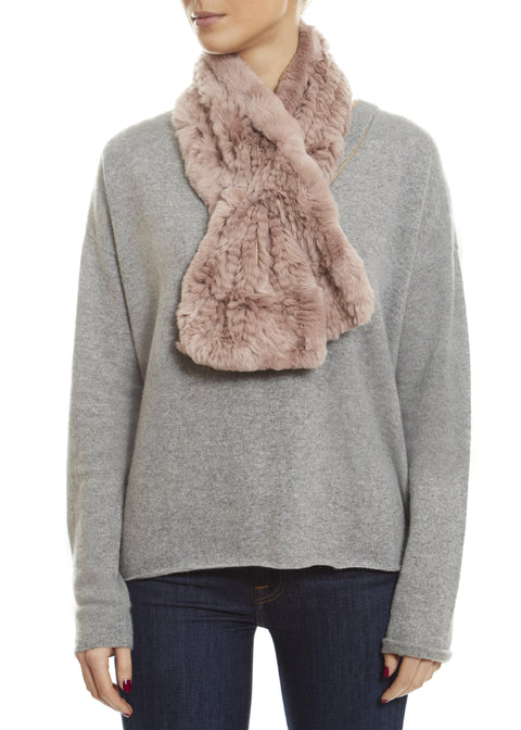 Soft Rose Knitted Rabbit 'Loop' Designer Fur Scarf | Jessimara London