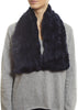 Navy Blue Knitted Rabbit 'Loop' Designer Fur Scarf | Jessimara London