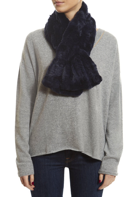 Navy Blue Knitted Rabbit 'Loop' Designer Fur Scarf - Jessimara