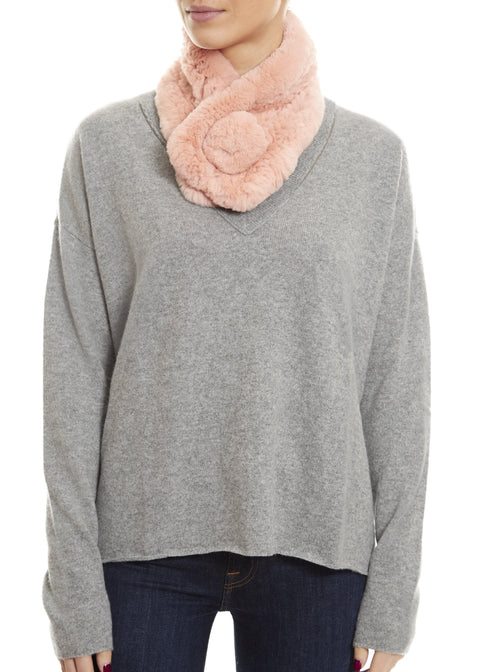 Blush Pink Bobble Knitted Rabbit Luxury Fur Scarf | Jessimara London