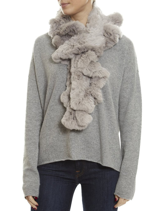 Grey Knitted Real Rex Rabbit Fur 'Wave' Scarf | Jessimara London