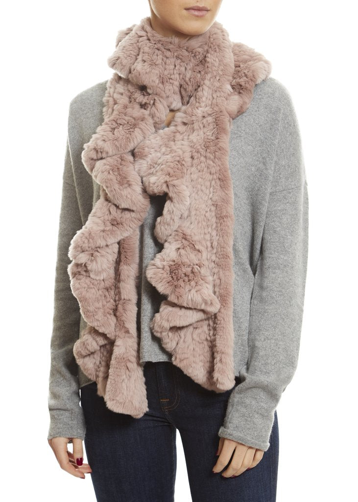 Pink Knitted Real Rex Rabbit Fur 'Wave' Scarf | Jessimara London