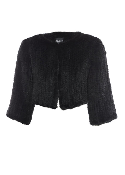 Cropped Knitted 'Black' Mink Genuine Fur Jacket | Jessimara London