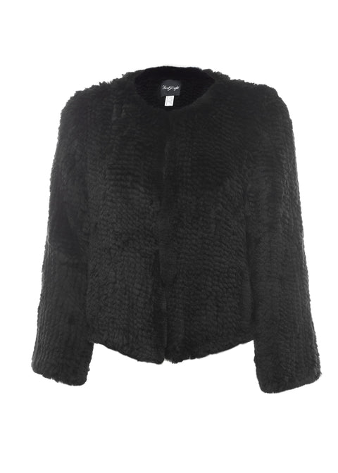 Short 'Black' Knitted Rex Rabbit Genuine Fur Jacket | Jessimara London