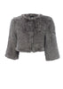 Knitted Rabbit Light Grey Genuine Fur Jacket | Jessimara London