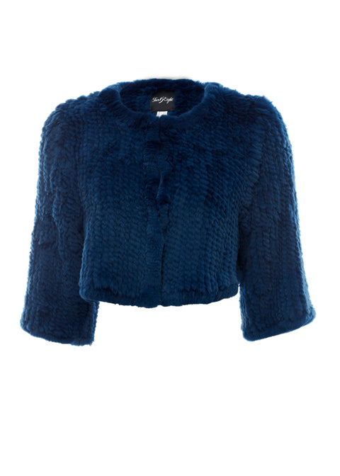Knitted Rabbit Royal Blue Green Genuine Fur Jacket | Jessimara London