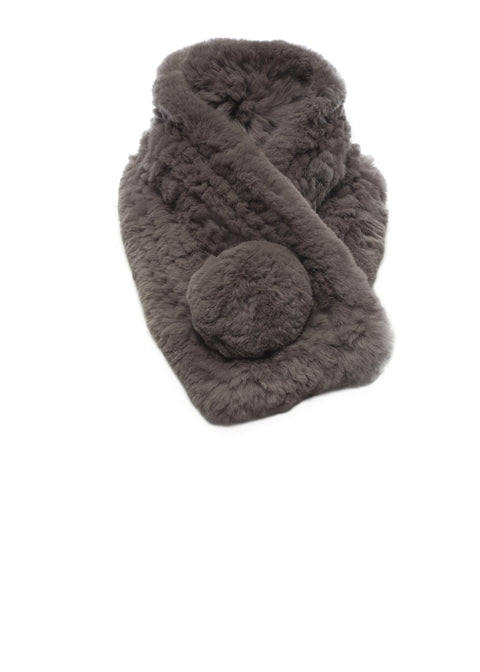Taupe/Grey Bobble Knitted Rabbit Fur Scarf