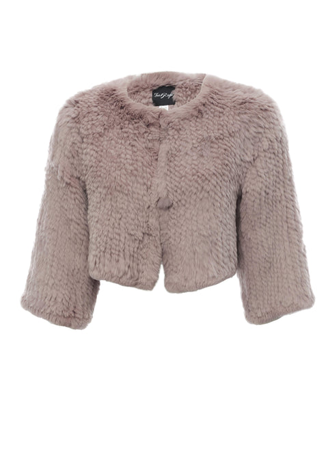 Cropped 'Soft Pink' Knitted Rabbit Genuine Fur Jacket | Jessimara London