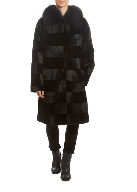 Black Rex Rabbit Panelled Coat with Fox Collar | Jessimara London