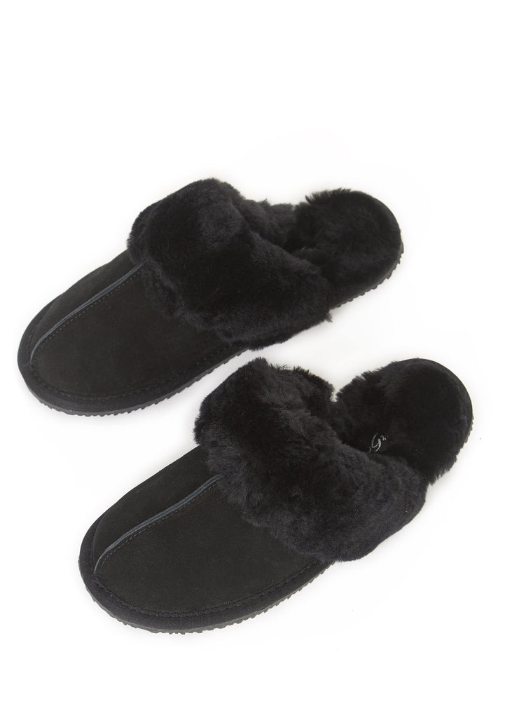 'Classic' Black Thin Sheepskin Slippers | Jessimara London