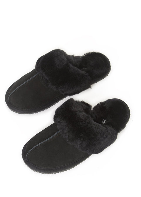 'Classic' Black Sheepskin Slippers | Jessimara London