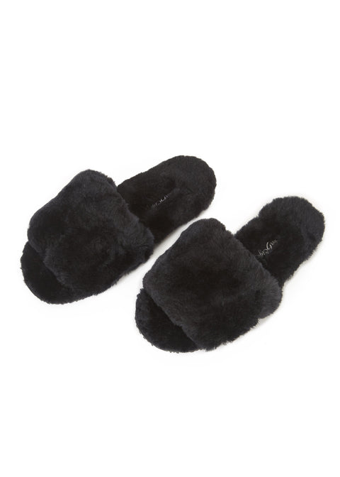 Black Sheepskin Deep Slipper Sliders | Jessimara London