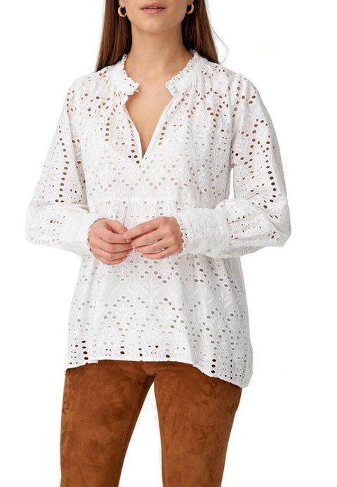 'Beatrice' White Broderie Anglaise Blouse