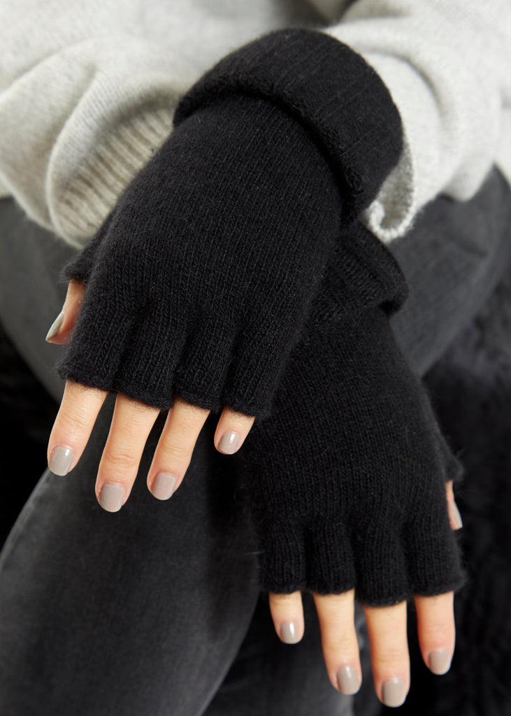 Black Fingerless Gloves Santacana - Jessimara