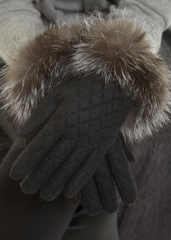 Black Quilted Ladies Fur Lined Gloves With Silver Fox Trim - Jessimara