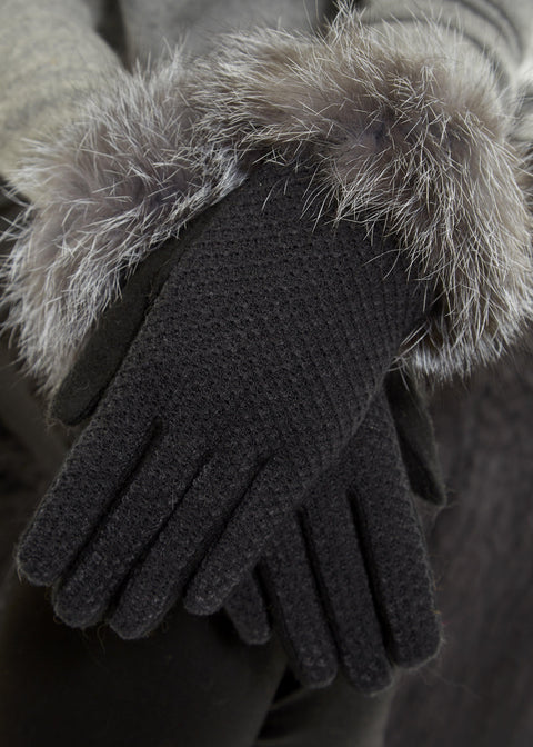 Black Stitching Detailed Gloves With Silver Fox Trim | Jessimara London